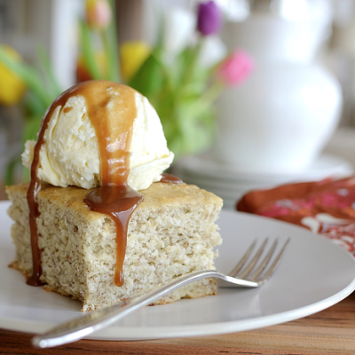 Banana Coconut Cake with Salted Caramel