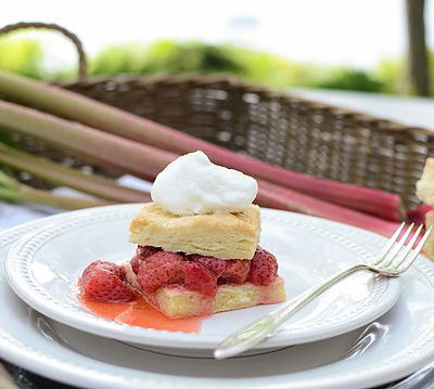Rhubarb Sauce and Strawberry Shortcakes