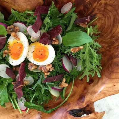 Mustard Green, Radish and Duck Bacon Salad