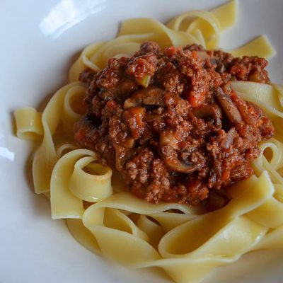 Bison and Mushroom Bolognese