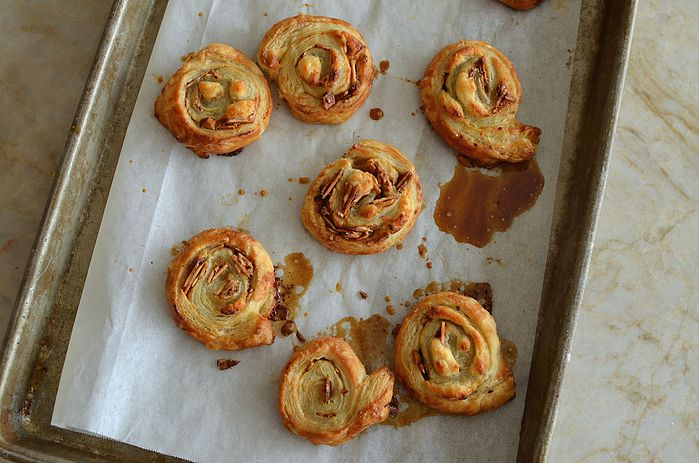 smoked almond and maple chevre swirls out of the oven