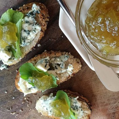 Rhubarb-Ginger Jam and Blue Cheese Crostini