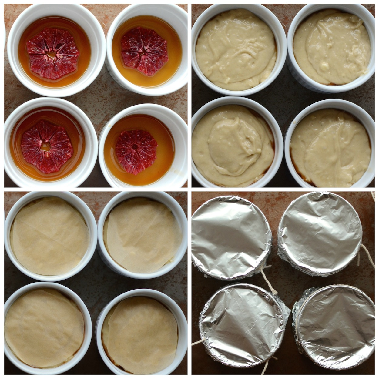 Steamed puddings in ramekins collage