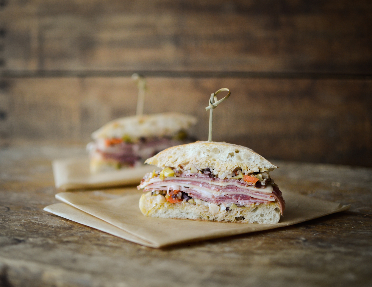 Muffuletta cut in half