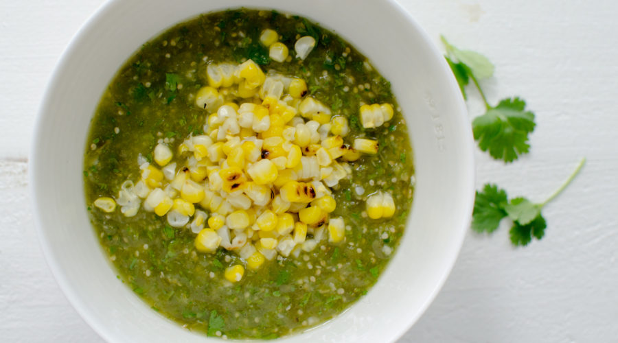 tomatillo salsa with roasted corn from above