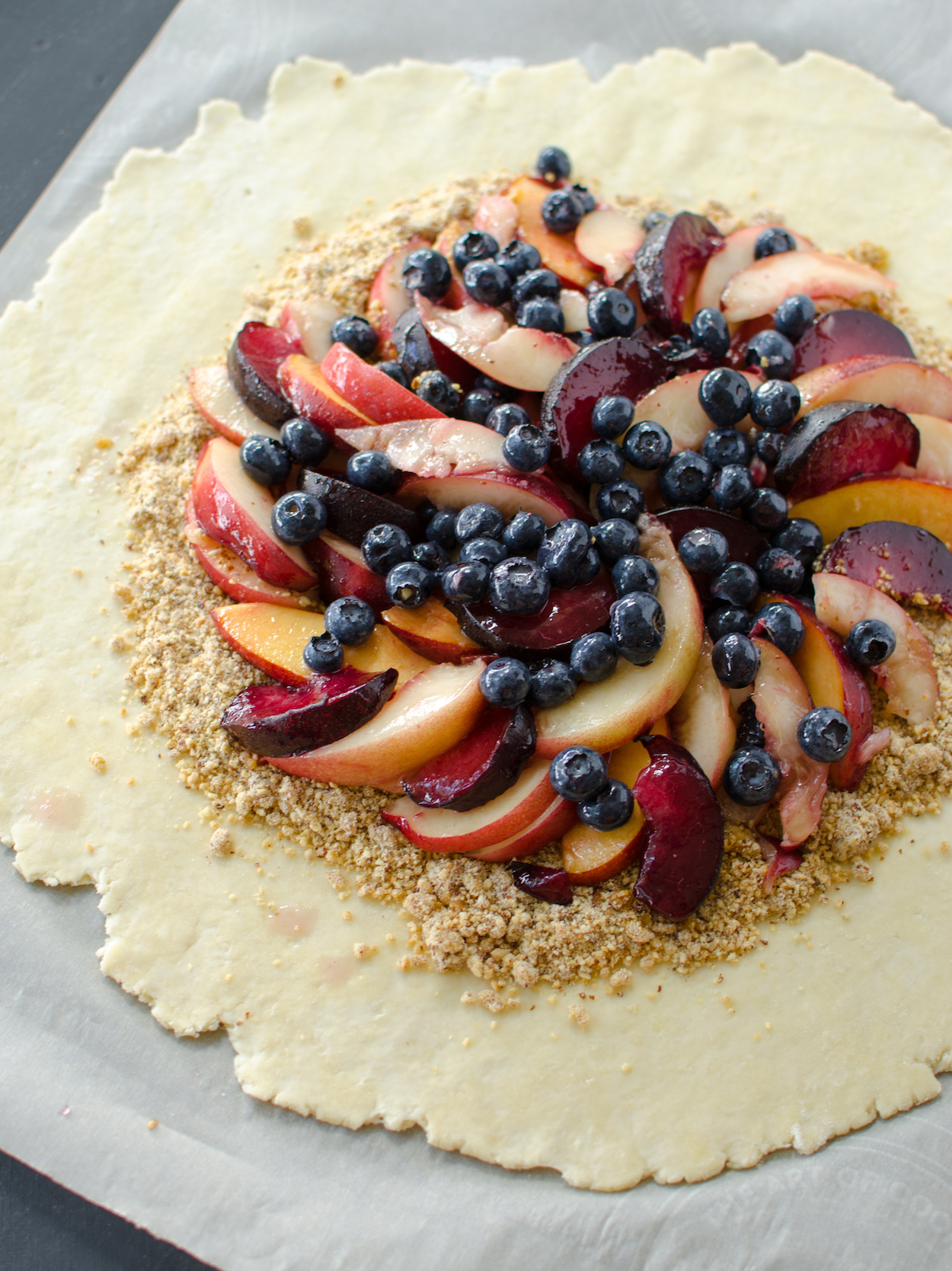 nectarine, plum and blueberry galette