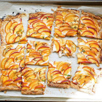 Peach and cream cheese tart