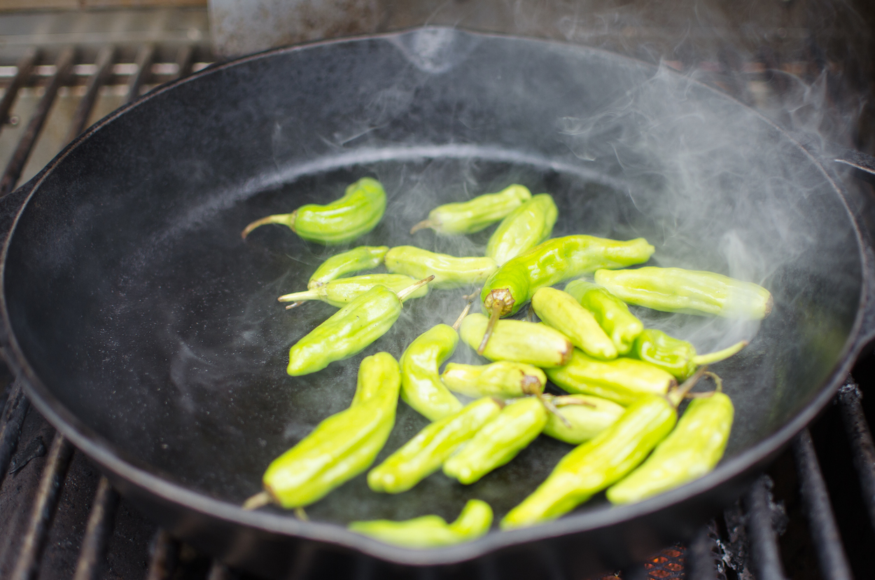 blistering peppers on the grill