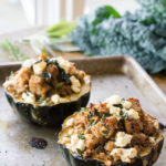 Sausage and Chèvre Stuffed Acorn Squash