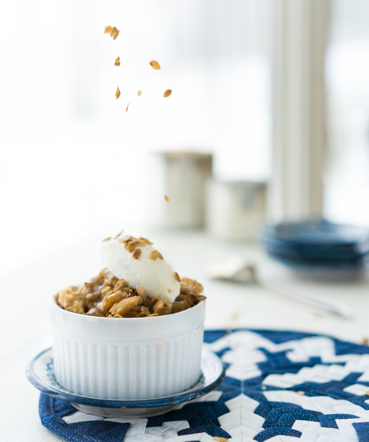 apple crisp with salted maple caramel